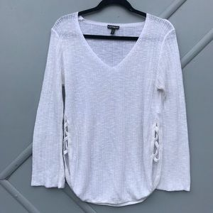 Express Medium Knit cross cross slit sweater